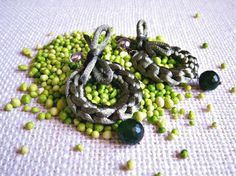 Crochet earrings in rat-tail satin cord and green agate stone drop pendant