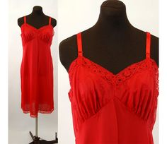 1960s slip red slip nylon full slip embroidered by vintagerunway