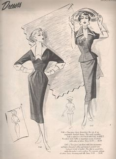 Modes Royale fashion illustration, 1953. #vintage #1950s #dresses