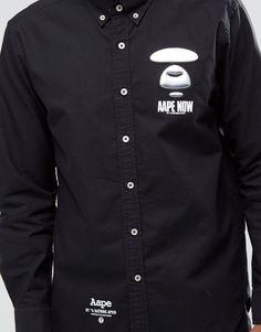 Image 3 ofAAPE By A Bathing Ape Long Sleeve Shirt with Metal Badge in Slim…