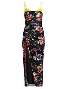 PRABAL GURUNG Bralette Top Gathered Slit Silk Midi Dress. #prabalgurung #cloth Silk Midi Dress, Bralette Tops, Prabal Gurung, Street Wear, Pajama Pants, Legs, Shopping, Collection, Black
