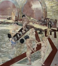 """In the Garden of Worldly Delights - This contemporary tableau was created by the renowned figurative artist Martin Wallace from his Brittany studio in France in 2010. The elements were taken from a visit to the Ruda Baths in Budapest in 2007.  Acrylic on panel.  Dimensions: 120cm x 120cm.  """"The bathing figures underline a serene, torpid atmosphere, with a current of apprehension between the clothed, seated girl.""""  Martin Wallace.  www.frenchreclamation.com"""