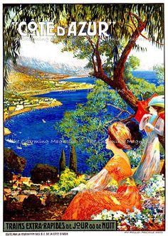Vintage Côte d'Azur France Travel Poster Print Digital Download Printable Image