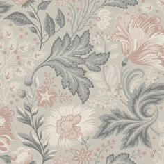 Wallpaper Ava Grey/Black // Kubel grey is a new colourway of Sandbergs classic pattern. A large patterned floral wallpaper that works well in bed