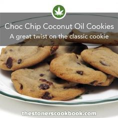 Use Coconut Oil Daily - - Cannabis Chocolate Chip Coconut Oil Cookies from the The Stoner's Cookbook (www.) 9 Reasons to Use Coconut Oil Daily Coconut Oil Will Set You Free — and Improve Your Health!Coconut Oil Fuels Your Metabolism! Weed Recipes, Marijuana Recipes, Cannabis Edibles, Cannabis Oil, Baking Recipes, Cookie Recipes, Dessert Recipes, Cookie Recipe With Oil, Crack Crackers