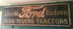 RARE Original Ford Cars, Trucks, and Tractors Punched Tin - Inner Lit Sign
