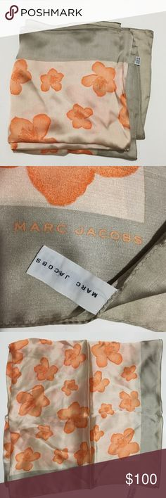 "Marc Jacobs Orange/grey floral pure silk scarf Vintage Marc Jacobs Orange/grey floral pure silk scarf. 100% silk, made in Japan. 34.5""x34.5"". Beautiful texture,  the softest thing you'll own! (Also have the same scarf in apple green flowers with a mint border) Marc Jacobs Accessories Scarves & Wraps"