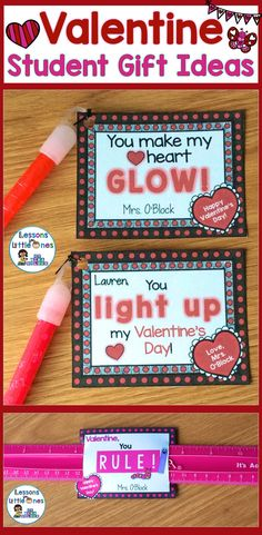 15 creative and fun ideas for  Valentine's Day student gifts or valentine cards. The valentine gift tags can be attached to inexpensive trinkets such as glow sticks, rulers, pencils, etc. to send a cute, heartfelt message to your students. https://lessons4littleones.com/2017/02/02/valentines-day-student-gift-ideas-gift-tags/