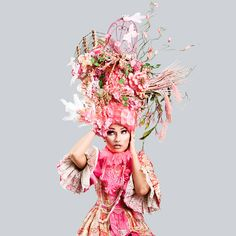 Pink Marie Antoinette butterfly bird cage sail boat headdress headpiece wig fantasy burlesque french baroque roccoco
