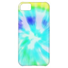 Pretty turquoise aqua blue and green tie dye pastel ikat watercolor tie-dye soft swirl pattern iphone 5C case cover.