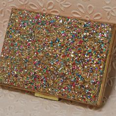 Confetti lucite powder compact