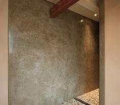 Tadelakt Iquitos green other walls are clay earth render - Photo: Lartierra applicator: Lartierra Pavel Pakuza Stone Gallery, Green Clay, Tadelakt, Natural Interior, Interior Rendering, Bathroom Wall, Master Bathroom, Bathroom Ideas, Moroccan Style