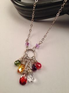 Gemstone and crystal necklace, wire-wrapped on a solid jump ring. Sterling chain and lobster chain.