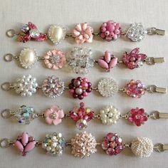 Vintage earring bracelets blush pink by ChicMaddiesBoutique