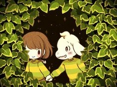 Chara and Asriel by ( Undertale Au, All Pictures, Video Game, Best Friends, Childhood, Snoopy, Kawaii, Squad, Illustration