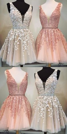 Short A-line V-neck Beaded Sashes Tulle Prom Hom .- Kurze A-Linie mit V-Ausschnitt Perlen Schärpen Tüll Prom Homecoming Kleider Spitze Stickerei Short A-line V-neck Beaded Sashes Tulle Prom Homecoming Dresses Lace Embroidery - Quince Dresses, Hoco Dresses, Tulle Prom Dress, Dresses For Teens, Pretty Dresses, Beautiful Dresses, Beaded Dresses, Lace Homecoming Dresses, Elegant Dresses