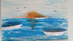 Pôr do sol com barcos de jornal - Rita