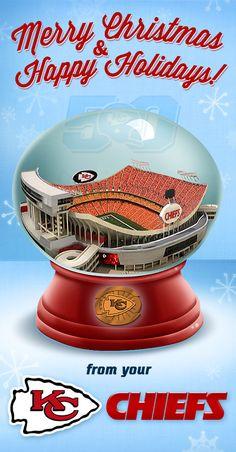 Kansas City Chiefs Santa Snow Globe Ornament