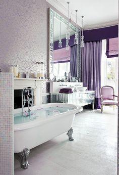 10 salles de bain fminines avec une dcoration patante purple