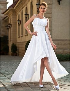 A-line Strapless Asymmetrical Taffeta Wedding Dress - USD $ 149.99