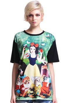"ROMWE | ""Snow White"" Color Block T-shirt, The Latest Street Fashion"