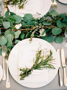 Herb and Greenery Wedding Place Setting | photography by http://jacquelynnphoto.com/