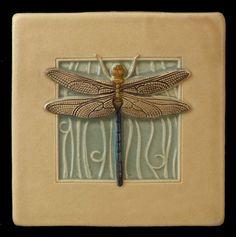 Art tile, Ceramic tile, Dragonfly, wall decor, 4 x 4 inches, deco tile