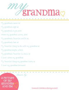 Questionnaire for kids to fill out about grandma for Mother's Day.