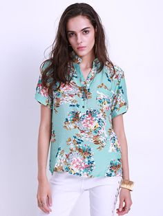 Sale 19% (18.39$) - Floral Printed Women V-Neck Short Sleeve/ Long Sleeve Blouses