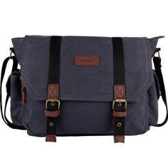 $34 ibagbar Men's Canvas Messenger Bag Laptop Bag Shoulder Bag Computer Bag Satchel Bag Bookbag School Bag Working Bag College Bag Business Bag ipad Bag Dark Gray