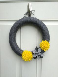 Yellow and Grey Wreath - Yarn Wreath - Felt Wreath