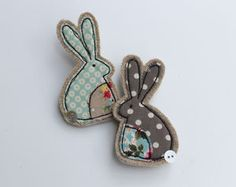 Fabric Rabbit Brooch Are you interested in our Embroidered Rabbit Brooch? - Fabric Rabbit Brooch Are you interested in our Embroidered Rabbit Brooch? With our Fabric Pin badg - # Freehand Machine Embroidery, Free Motion Embroidery, Fabric Brooch, Felt Brooch, Brooch Pin, Textile Jewelry, Fabric Jewelry, Jewellery, Felt Crafts