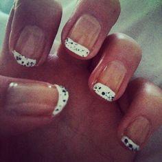 Dot tipped nails.