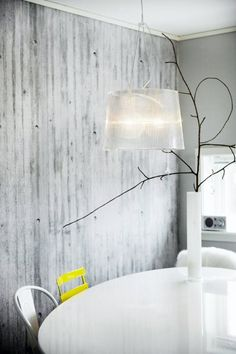 concrete wallpaper & my kartell lamp Dining Room Inspiration, Interior Inspiration, Lighted Branches, Classic Kitchen, Interior Styling, Interior Design, Kartell, Wall Finishes, Art Mural