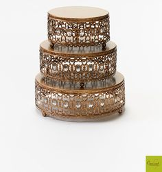 Moroccan Jeweled Round Cake Stands | Set of Three | $70  choose: antique gold, antique silver or white Click here  to buy…  http://www.opulenttreasures.com/shop/moroccan-jeweled-cake-stands