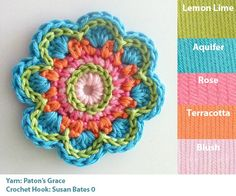 crochet flower with happy colors