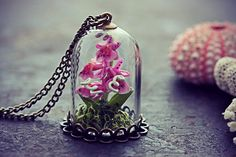 Orchid Terrarium Necklace Miniature Flower by TheCreakingDoor