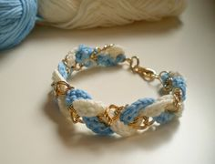 Navy style Bracelet  Crochet and golden brass by LovelyKikily,