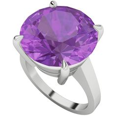 StyleRocks Round brilliant cut amethyst sterling silver ring ($793) ❤ liked on Polyvore featuring jewelry, rings, purple, sterling silver amethyst jewelry, amethyst cocktail ring, round amethyst ring, amethyst ring and cocktail rings