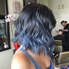 STEEL / BLUE cut & color by @thejennshin! She'll be in Ft. Lauderdale for the #BTC #oneshot awards where she's nominated for OMBRE of The Year! Go show her some love! #BESCENE