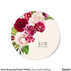 Shop Roses Burgundy/Cream Wedding Classic Round Sticker created by arrayforweddings. Shades Of Burgundy, Plum Purple, Cream Wedding, Rose Wedding, Watermark Ideas, Wedding Stickers, Round Stickers, Floral Flowers, Custom Stickers