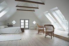 Attic Bedroom - Use Windows, Doors to Decks & Skylights for natural light