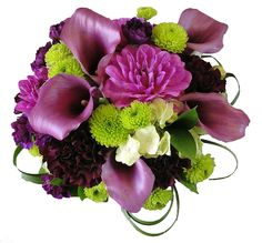 Purples and Green Bridal Bouque with callas dahlias buttons