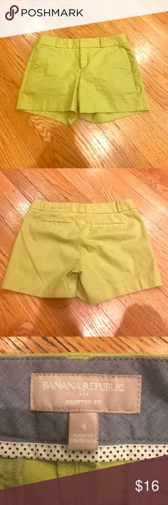 """Summer Shorts Banana Republic shorts in great condition. 4"""" inseam. Lime green in color Banana Republic Shorts"""