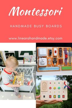 Educational Toys, Toddler Busy Board, Montessori Materials, Sensory Board, Activity Board by Linearahandmade Children Activities, Home Activities, Montessori Materials, Montessori Toys, 2 Year Old Gifts, Etsy Handmade, Handmade Gifts, Busy Boards For Toddlers, Sensory Boards