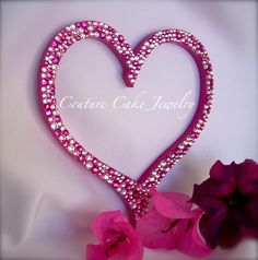 Fuchsia Swarovski Crystal Heart Cake Topper!....Ooo la la!