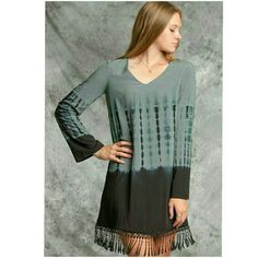 TIE DYE DRESS WITH FRINGED  BOTTOM New beautiful long sleeve  tie dye woven dress with a fringed bottom. Has inside lining.  Size small, medium, or large Please comment size Price is final 4 Bidden Boutique Dresses Mini