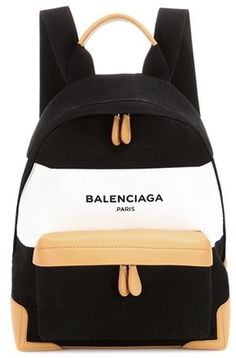 Balenciaga Navy Leather-trimmed Canvas Backpack - $1,110.00