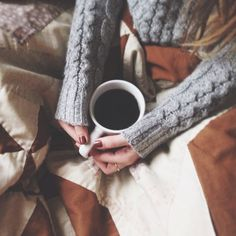 Cableknit sweater, comfy blanket, and coffee.. say no more! #winter #relaxation #cozy