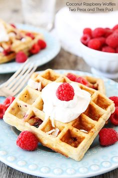 Coconut Raspberry Waffles with Coconut Whipped Cream Recipe on twopeasandtheirpod.com These waffles are amazing!